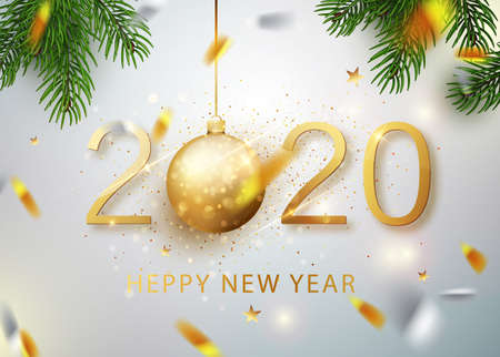 2020 Happy new year. Gold Numbers Design of greeting card of Falling Shiny Confetti. Gold Shining Pattern. Happy New Year Banner with 2020 Numbers on Bright Background. Vector illustration. Ilustração