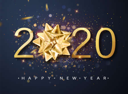 2020 Happy New Year vector background with golden gift bow, confetti, white numbers. Winter holiday greeting card design template. Christmas and New Year posters