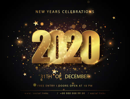 Christmas and New Year posters set with 2020 numbers. Vector illustration. Winter holiday invitations with geometric decorations Stock fotó - 131592717