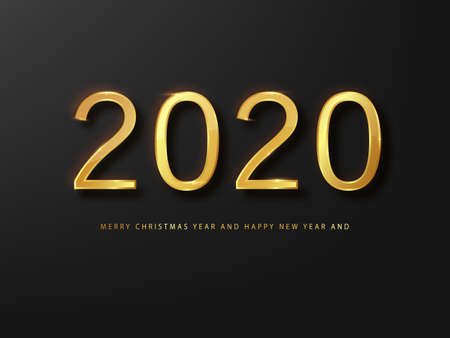 2020 Happy New Year greeting card gold and black background. Black New Year background. Cover of business diary for 2020 with wishes. Brochure design template, card, banner Ilustração
