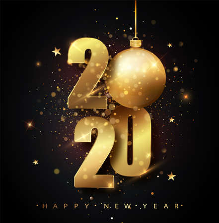 Happy New 2020 Year. Holiday vector illustration of golden metallic numbers 2020. Gold Numbers Design of greeting card of Falling Shiny Confetti. New Year and Christmas posters. Ilustração