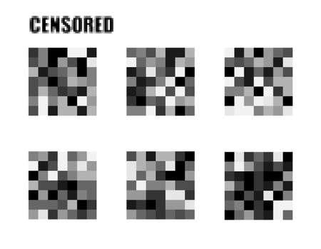 Concetto di segni censurati. Isolato Set di barra di censura. . Modello vettoriale pixel censurato. Rettangolo di censura. Barra di censura nera. Rettangolo della censura