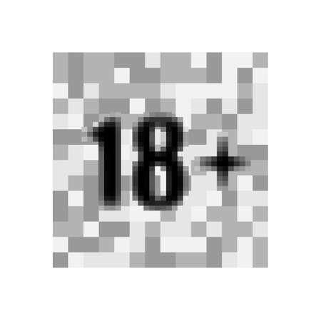 Under 18 sign warning symbol. Over 18 only censored. Eighteen age older forbidden adult content. Eps 10 vector illustration