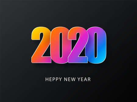 2020 Happy New Year Dark Background with colorful gradient composition. Creative trendy holiday illustration. 2020 Modern Design. Stock fotó - 132476635