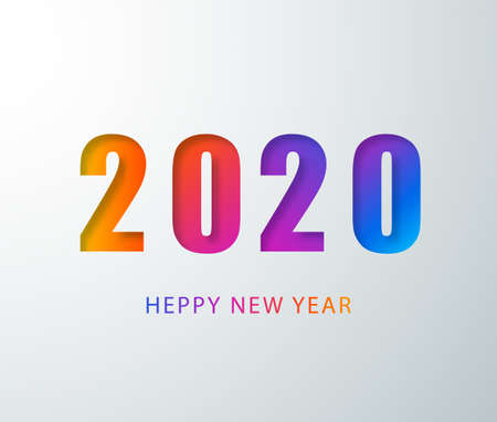 Happy 2020 new year colour banner in paper style. 2020 modern text vector design for your seasonal holidays flyers, greetings and invitations, christmas themed congratulations and cards. Vector illustration