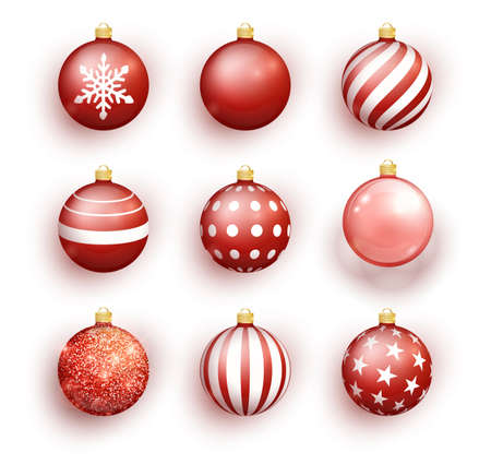 Red christmas balls isolated on white. Set Christmas tree toy set isolated . Vector object for christmas design, mockup. Stocking Christmas decorations.  イラスト・ベクター素材