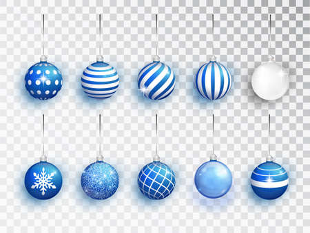 Blue Christmas balls set of with different patterns isolated. Holiday decoration template. Vector illustration