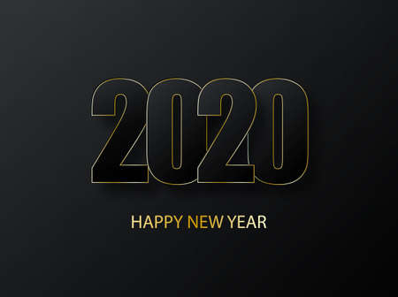 2020 Happy New Year Background. luxury dark with gold vector greeting illustration. Cover of business diary for 2020 with wishes. Greetings and invitations, christmas themed congratulations and cards.