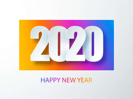 Happy 2020 new year colour banner in paper style for your seasonal holidays flyers. Cover of business diary for 2020 with wishes. Greetings and invitations, christmas themed congratulations and cards. Vector illustration.