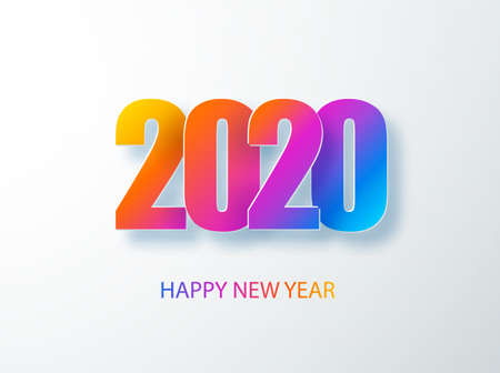 Happy 2020 new year colour banner in paper style. 2020 modern text vector design for your seasonal holidays flyers, greetings and invitations, christmas themed congratulations and cards. Vector illustration.