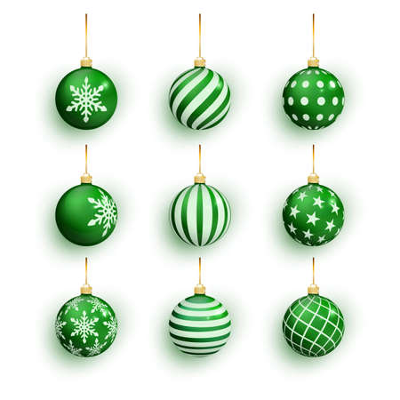 Green christmas balls isolated on white. Set Christmas tree toy set isolated . Vector object for christmas design, mockup. Stocking Christmas decorations. Stock fotó - 132476647