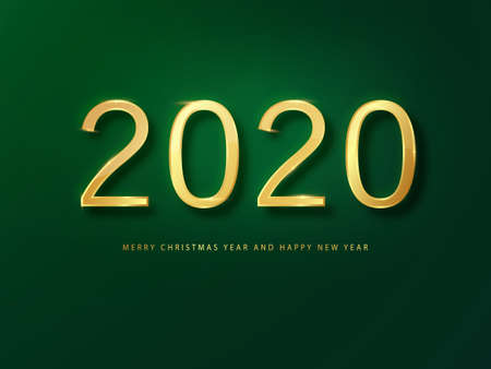 2020 Happy New Year greeting card gold and green background. Green New Year background. Cover of business diary for 2020 with wishes. Brochure design template, card, banner