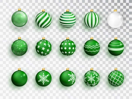 Green christmas balls on white isolated. Set of isolated realistic decorations. Christmas tree toy. Vector object for christmas design, mockup. Stocking Christmas decorations. Imagens - 131593186