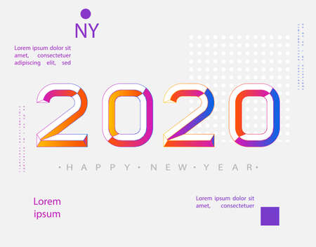 2020 Modern Design. 2020 Happy new year. Numbers minimalist style. Vector linear numbers. Design of greeting card. Vector illustration.
