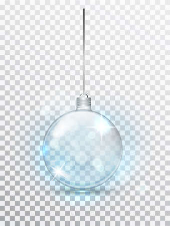 Blue transparent Christmas ball. Xmas glass ball on transparent background. Holiday decoration template. Stocking Christmas decorations.Transparent vector object for design, mocap. Stock fotó - 132476654