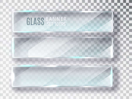 Glass transparent banners set. Vector glass plates with a place for inscriptions isolated on transparent background. Flat glass. Realistic 3D design. Vector transparent object 10 eps. Imagens - 131262167
