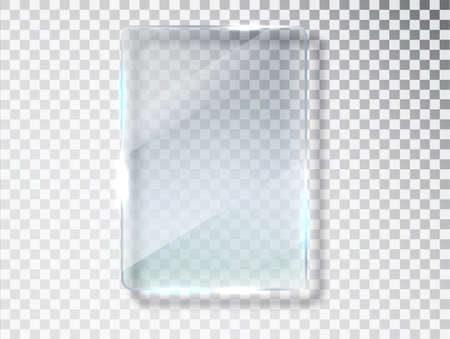 Glass plates. Glass banners isolated on transparent background. Flat glass. Realistic texture with highlights and glow on the transparent.  イラスト・ベクター素材