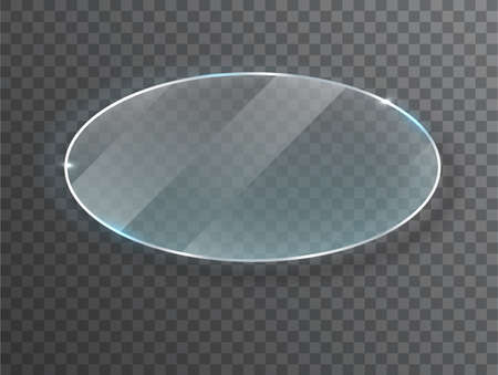 ransparent round circle. Glass plate mock up. Banner. Vector illustration