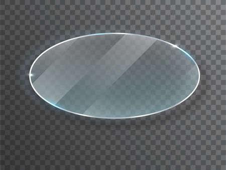 ransparent round circle. Glass plate mock up. Banner. Vector illustration