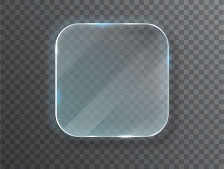 Glass plates. Vector glass banners on transparent background. Design template. Realistic vector illustration  イラスト・ベクター素材