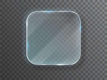 Glass plates. Vector glass banners on transparent background. Design template. Realistic vector illustration Ilustração