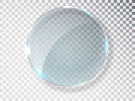 Glass circle badge with a place for inscriptions isolated on transparent background. Glass plate mock up. Glass framework. Photo realistic vector illustration.