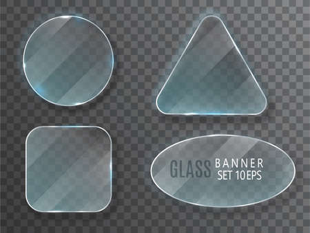 Glass transparent banners set. Vector glass plates with a place for inscriptions isolated on transparent background. Flat glass. Realistic 3D design. Vector transparent object 10 eps.