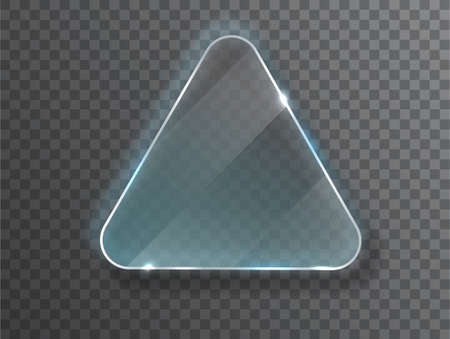 Triangle Glass plate isolated on transparent background. Glass plate mock up. Glass framework. Photo realistic vector illustration  イラスト・ベクター素材