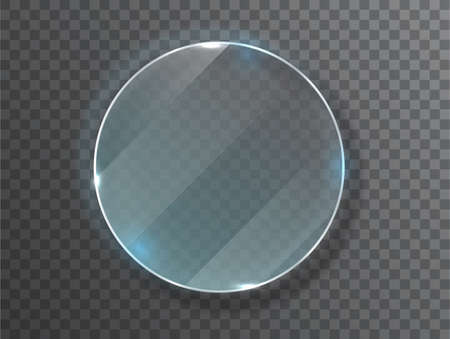 Glass circle badge with a place for inscriptions isolated on transparent background. Glass plate mock up. Glass framework. Photo realistic vector illustration