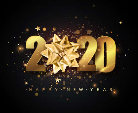2020 Happy New Year vector background with golden gift bow, confetti, white numbers. Winter holiday greeting card design template. Christmas and New Year posters. Ilustração