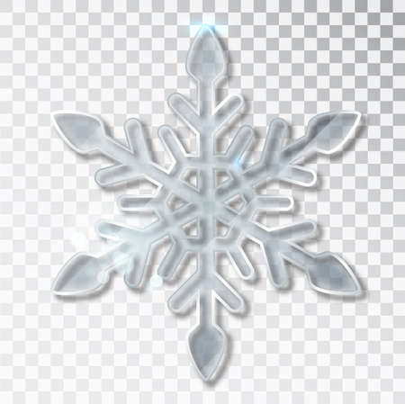 Snowflake transparent with shadow isolated on background. Christmas and New Year s design template, mockup. Stocking Christmas decorations Stock fotó - 132119055