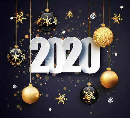 Happy New 2020 Year. Holiday vector illustration of numbers 2020. Gold Numbers Design of greeting card.