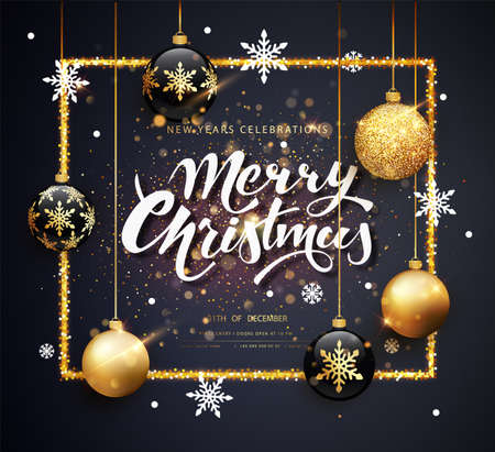 Merry Christmas gold and black colors Greeting card web banner or poster with christmas balls gold glitter confetti and shine. Luxury golden and black color invitation. Vector illustration for web. Stock fotó - 132344741