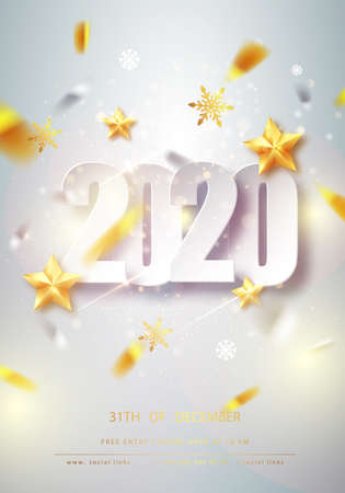 Happy new year card over gray background with golden confetti. Happy new year 2020. Holiday card. Template for your design. Vector illustration. Stock fotó - 132428229