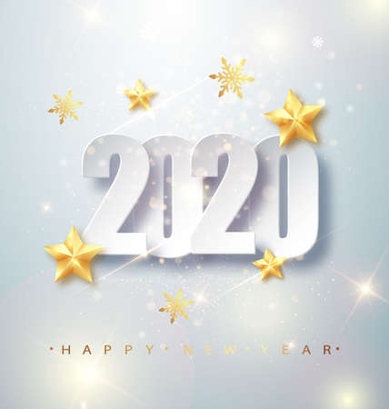 Happy New Year 2020 Greeting Card with Silver Numbers and Confetti Frame on White Background. Vector Illustration. Merry Christmas Flyer or Poster Design. Stock fotó - 132430614