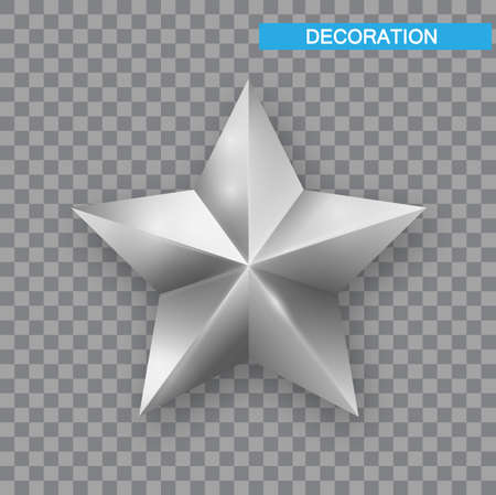 Silver Christmas Star isolated on white Background. Christmas decoration of Silver metallic color. Shiny Silver Star Ilustração