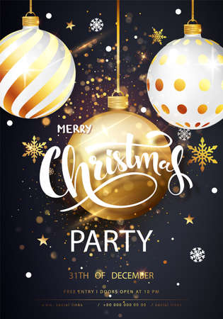 Christmas Party card over gray background with golden confetti. Holiday card. Template for your design. Vector illustration.