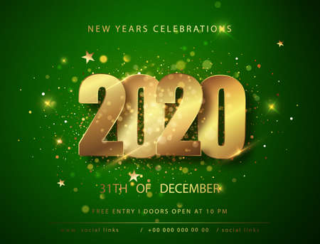 Green Christmas and New Year posters set with 2020 numbers. Vector illustration. Winter holiday invitations with geometric decorations. Ilustração