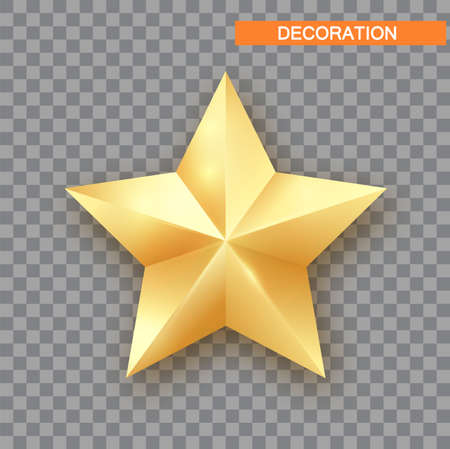 Golden Christmas Star isolated on white Background. Christmas decoration of Silver metallic color. Shiny Silver Star.
