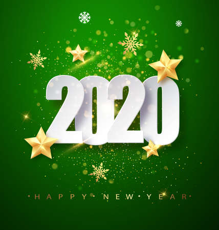 Green Happy New Year 2020 Greeting Card with Confetti Frame. Vector Illustration. Merry Christmas Flyer or Poster Design