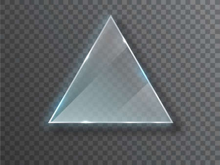 Triangle Glass plate isolated on transparent background. Glass plate mock up. Glass framework. Photo realistic vector illustration.