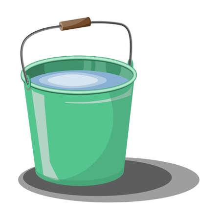 Bucket of water for the garden. Design element for the garden.Bucket for harvest. Garden elements. Illustration