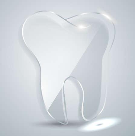 Glass plate in the form of a tooth. Logo of dental clinics Illusztráció