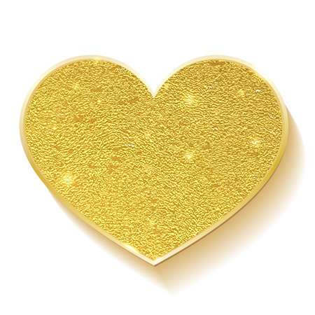 Golden heart. Placer gold. symbol of love. Golden shiny heart shaped isolated on white