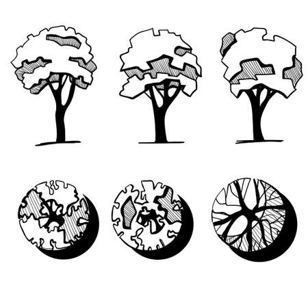 Trees for a landscape design. Different hand drawn trees isolated on white background, sketch, architectural drawing style trees set. Top and front view