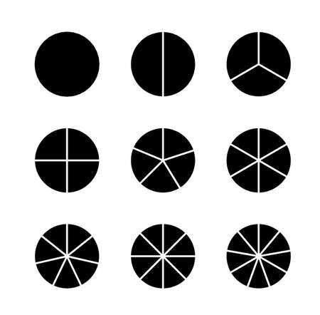 Circle segments set. Infographic vector illustration. Various number of sectors divide the circle on equal parts. Black flat fill Ilustração