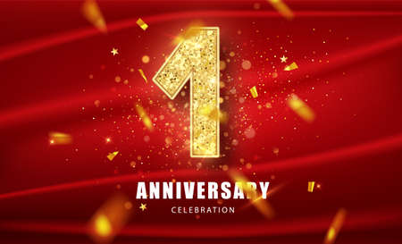 First Anniversary celebration. Anniversary Celebrating golden glitter text with golden serpentine and confetti on red background. Birthday or wedding party event decoration. Illustration stock vector.