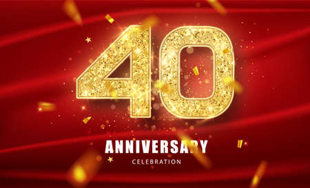 40th Anniversary celebration. Golden glitter numbers with sparkling confetti. Vector festive illustration. Realistic Party event decoration. 일러스트