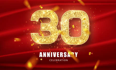 30th Anniversary celebration. Golden glitter numbers with sparkling confetti. Vector festive illustration. Realistic Party event decoration.