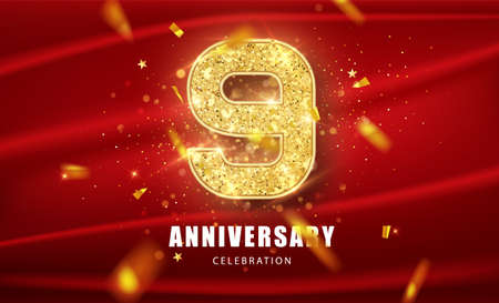 9 Golden glitter numbers and Anniversary Celebration text with golden confetti on red background. Ninth anniversary celebration event vector template.